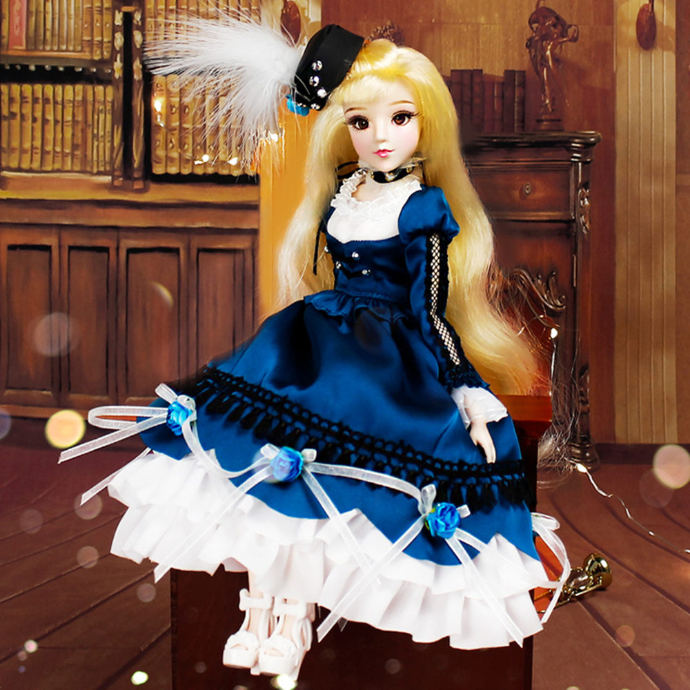Fortune Days MMGirl 12 constellation Libra like BJD doll 1/6 30cm blue dress hat elegant 14 joint body dolls toy gift