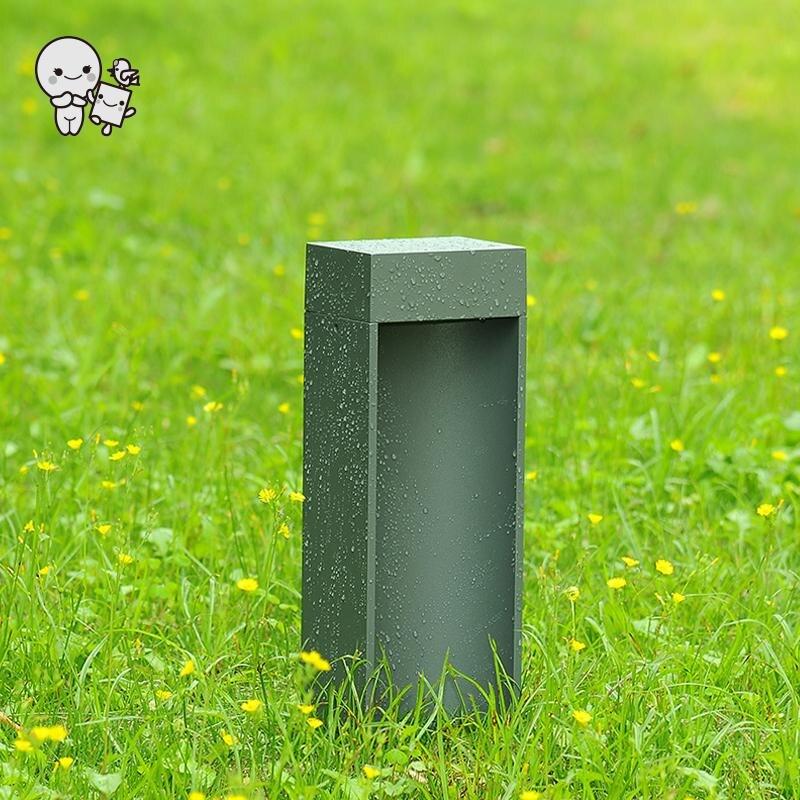 Extérieur 40/60 cm noir gris aluminium verre LED pelouse lampe luminaire moderne Art déco paysage éclairage Design pour chemin de jardin