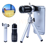 High Quality 6in1 Phone Camera Lentes kit 12x Optical Zoom TelephotoTelescope Lens Clips For iPhone 6 6s 7 Plus 4 4s 5 5s 5c SE