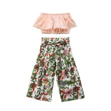 2PCS Toddler Kids Girl Summer Crop Tops+Floral High Waist Bow Wide Leg Pant Trouser Outfits Children Clothes Set