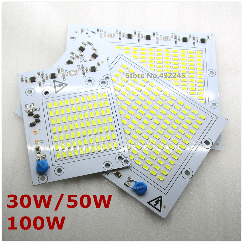 20 pieces 220V directly 30W 50W 100W  Integrated IC LED PCB smd 5730 Aluminum Base Plate no need driver for floodlight .free. 20pcs 12w led light panel smd 5730 ic driver pcb input voltage ac110v 130v needn t driver aluminum plate free shippping