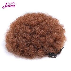 Cordón corto Afro Puff Cola de Caballo pelo sintético rizado envoltura falsa Cola de Caballo extensiones de cabello