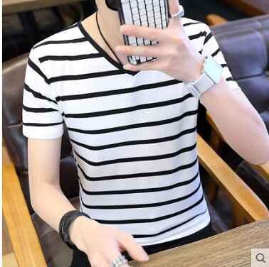 夏 2019 男性の半袖シャツ、黒と白のストライプハーフスリーブシャツ、韓国ファッション服
