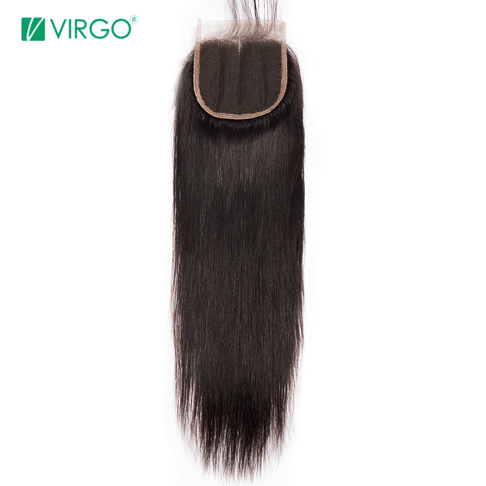 Volys Virgo 100% Remy Hair Straight Lace Closure 4*4 Free/Middle/Three Part Human Hair Mixed Length 8inch-20inch Free Shipping