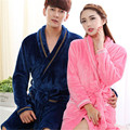 Men and Women's Couple Fall and Winter Coral Fleece Print Thicken Warm Robes Bathrobe Nightgown Pajamas Loungewear