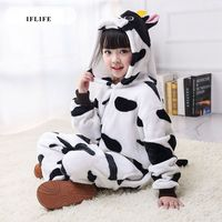 Pijama Infantil Onesie Hooded Kids Animal Cartoon Pajama Cow Cattle Children Boy Girl Unisex Pyjama