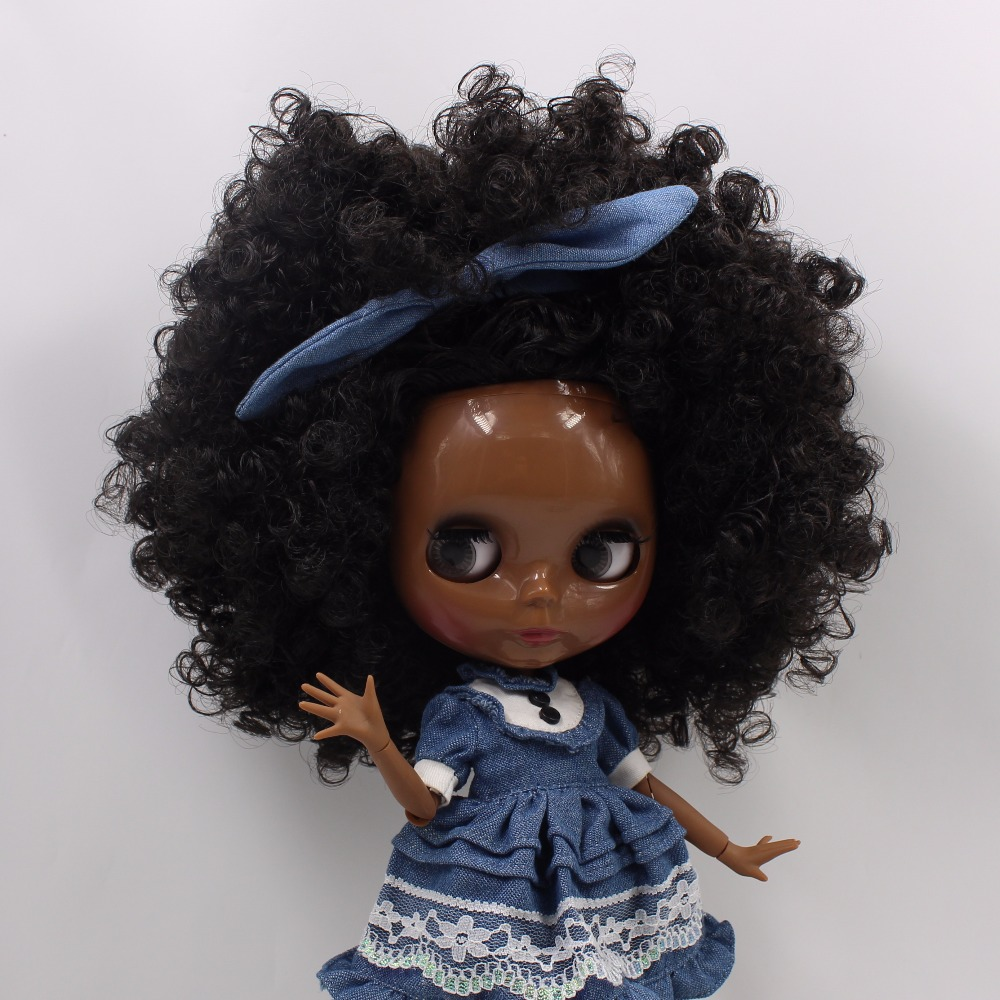 Neo Blythe Doll with Black Hair, Black skin, Shiny Face & Jointed Body 5