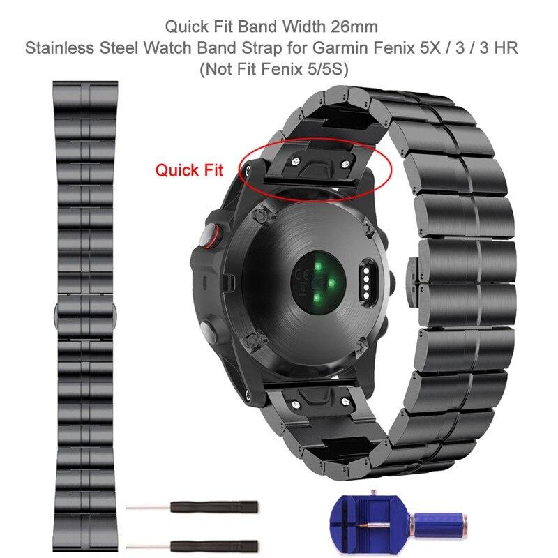 Pulseira de Relógio para Garmin Ajuste Rápido Metal Inoxidável Fenix 5x – Plus 3 hr Quatix Tactix Bravo Relógio Inteligente 26mm Aço