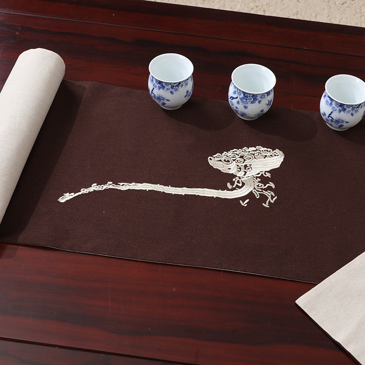 Embroidery Cotton Linen Chinese Table Runner Lotus Cloud Rectangle Tea Mat Decoration Coffee Table Cloth Dining Table Pads