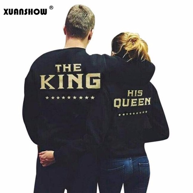 2018 Fashion QUEEN KING Letras Amantes Parejas Camisetas