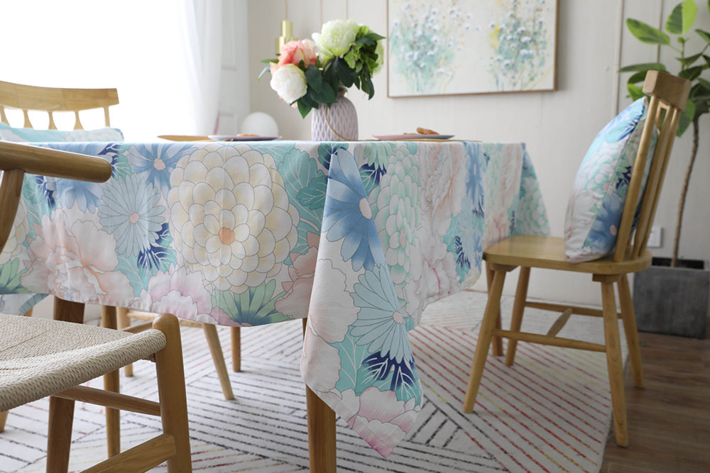 Modern Colorful Flower Print Tablecloth Dining Table Cover Rectangle Cloth Home Kitchen Decoration tapetes toalha de mesa