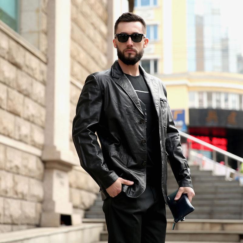 7fc9cef748b AMSIIKE 2018 Men Formal Coat Genuine Leather Jackets Autumn Black Sheepskin  Suit Button Slim Leather Jacket
