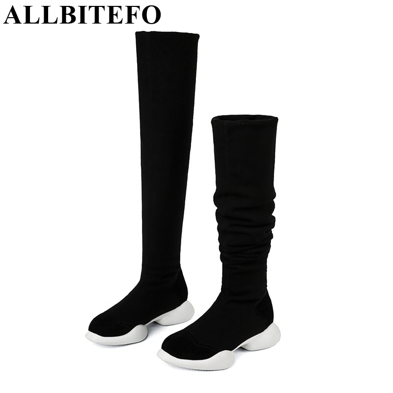 ALLBITEFO genuine leather Stretch fabrics Elastic boots tube winter snow women boots fashion low heeled over