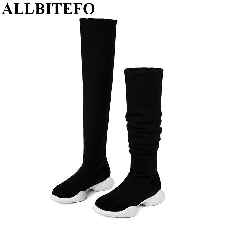 ALLBITEFO cuero genuino + Tejidos elásticos Botas elásticas tubo invierno nieve mujer botas moda tacón bajo sobre la rodilla botas altas