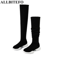 New Arrive Genuine Leather Stretch Fabrics Elastic Boots Tube Winter Snow Boots Fashion Low Heeled Over