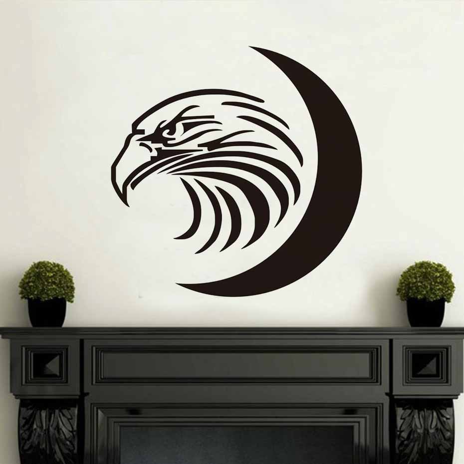 DCTOP Adhesive Removable Wall Sticker Islamic Eagle'S Head Moon Poster Wall Art  Decor Vinyl Decals Home Decoration Accessories