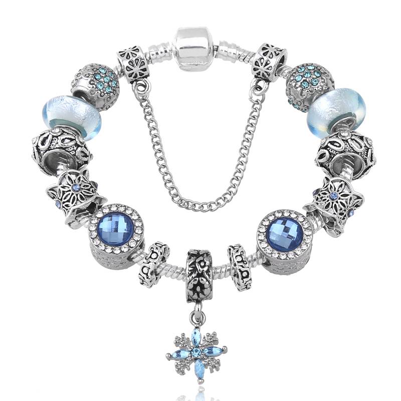 a4895d15dc87 Nuevo diseño de la torre corona flor encanto clave del corazón Pandora  pulsera de cuentas de