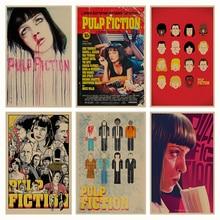 Pulp Fiction B gather retro Poster Retro Kraft papel Bar Café decoración para el hogar pintura pegatina de pared
