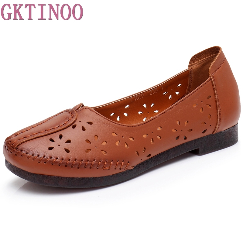 GKTINOO Women's Casual Shoes Genuine Leather Woman Loafers Breathable Summer Shoe Flats with Hollow Out Mother Shoes 3 Colors gktinoo fashion handmade women genuine leather shoes hollow breathable summer spring flats ladies flats shoes casual shoes