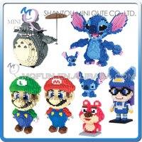 Full Set 8 Pcs Lot Mini Qute HC Cartoon Super Mario Game Anime Plastic Building Block