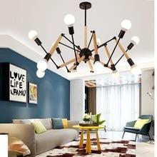 Modern Vintage LED Wooden Chandelier Spider Lustre E27 Livingroom Lighting For Kitchen Restaurant Chandeliers Fixture Lights