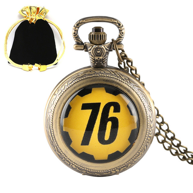 bff62dd7f Fashion Theme FALLOUT 76 Quartz Pocket Watch Survive in Fallout 4 for Men  Women Children Unique Gift with Necklace Chain Bag