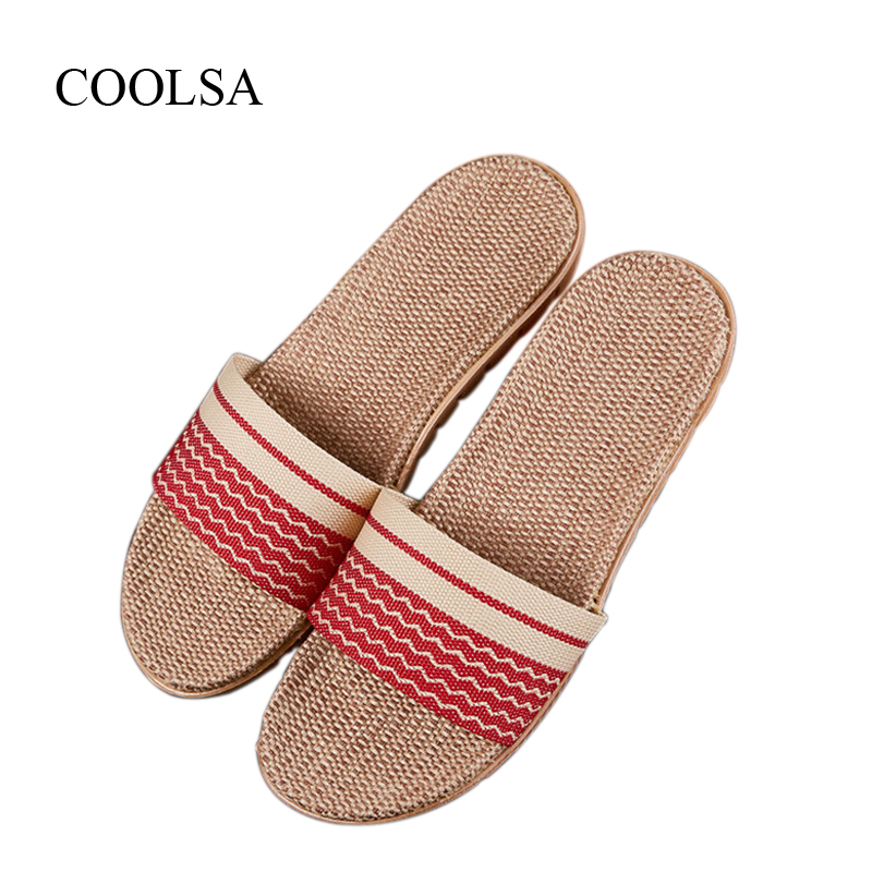 COOLSA Women's Breathable Non-slip Linen Slippers Striped Flip Flops Indoor Floor Slippers Women Hemp Slides Flax Slippers Hot coolsa women s summer flat cross belt linen slippers breathable indoor slippers women s multi colors non slip beach flip flops