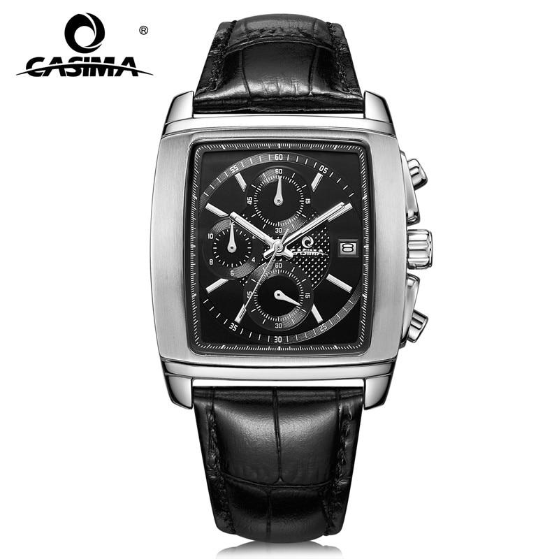 bb6c28593945 Relojes de marca de lujo hombres moda negocio vestido clásico para hombre  de cuarzo reloj de pulsera banda de cuero resistente al agua 100 M casima   5115