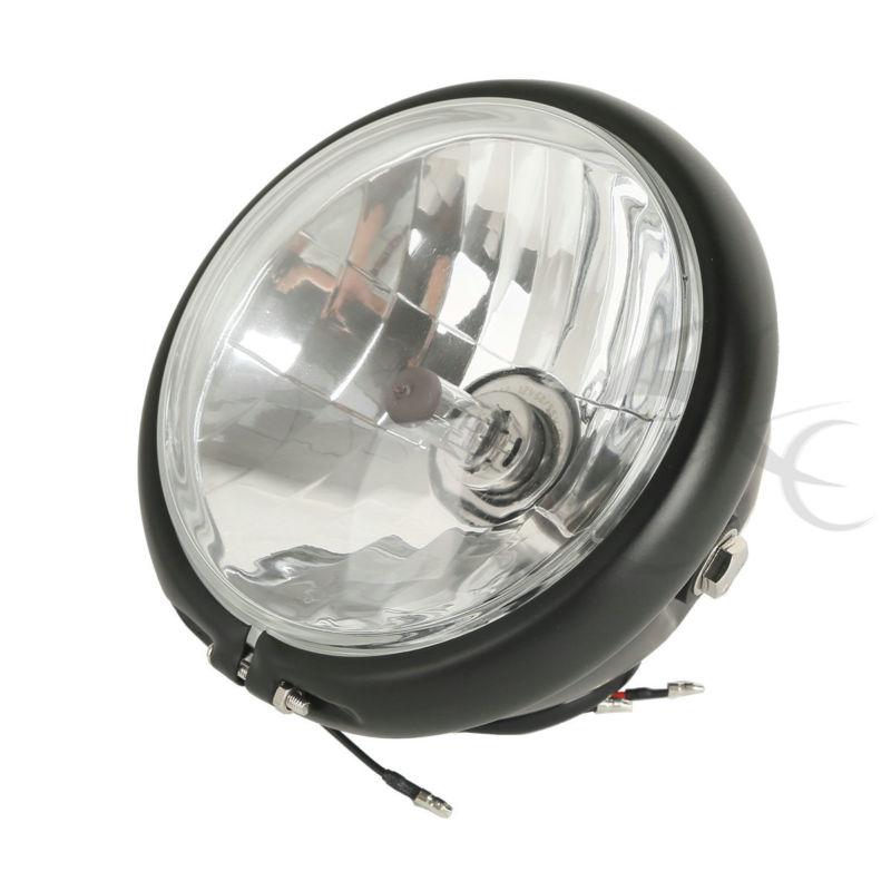 5 3/4 Black Hi/Lo Beam Headlight Lamp Light For Harley Kawasaki Suzuki Honda