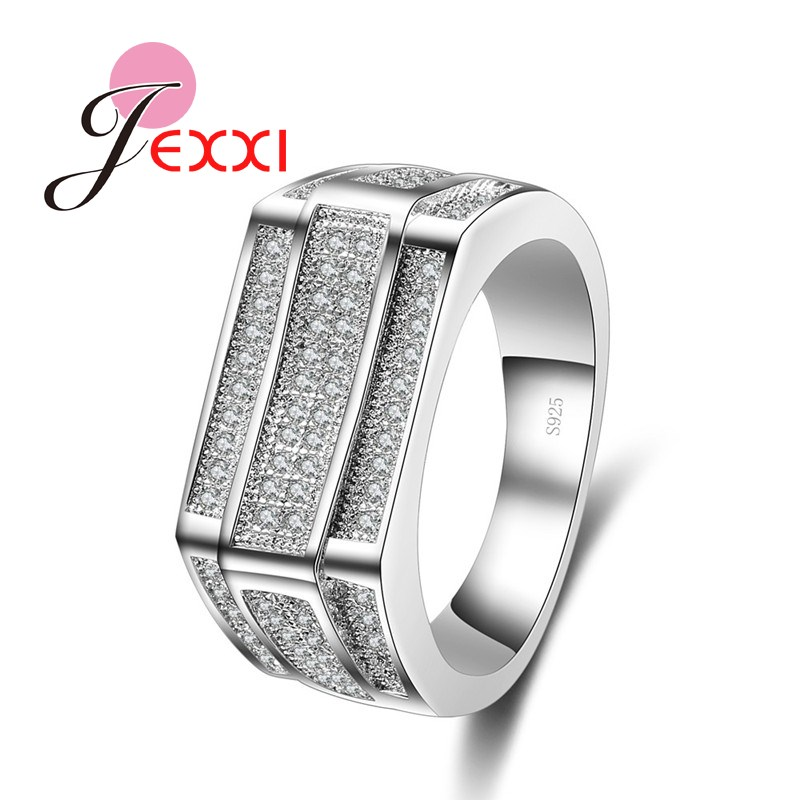 JEXXI Women Finger Rings S90 Silver Engagement Wedding Shiny Crystal Ring Cubic Zirconia Jewelry Bijoux Wholesale Price