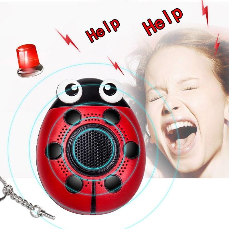 Self Defense Alarm 130dB Beetle Girl Children Personal Security Alert Alarms SOS Flashing Speakers Keychain Emergency Alarm