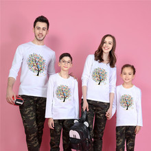 Long Sleeve Family Look Men Cotton T-shirt 2016 Harajuku Skate Sport Tshirt Poleras Hombre White T Shirt Mother Daughter Outfits