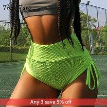 Sexy Slim Jacquard Yoga Shorts Women Bandage High Waist Fitness Short Leggings Gym Tights Sport For Athletic