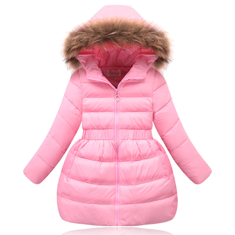 FunnyABC girls winter down jacket with fur hooded casual warm long outwear coats girls winter coat pink black red 90% duck down 100% white duck down women coat fashion solid hooded fox fur detachable collar winter coats elegant long down coats
