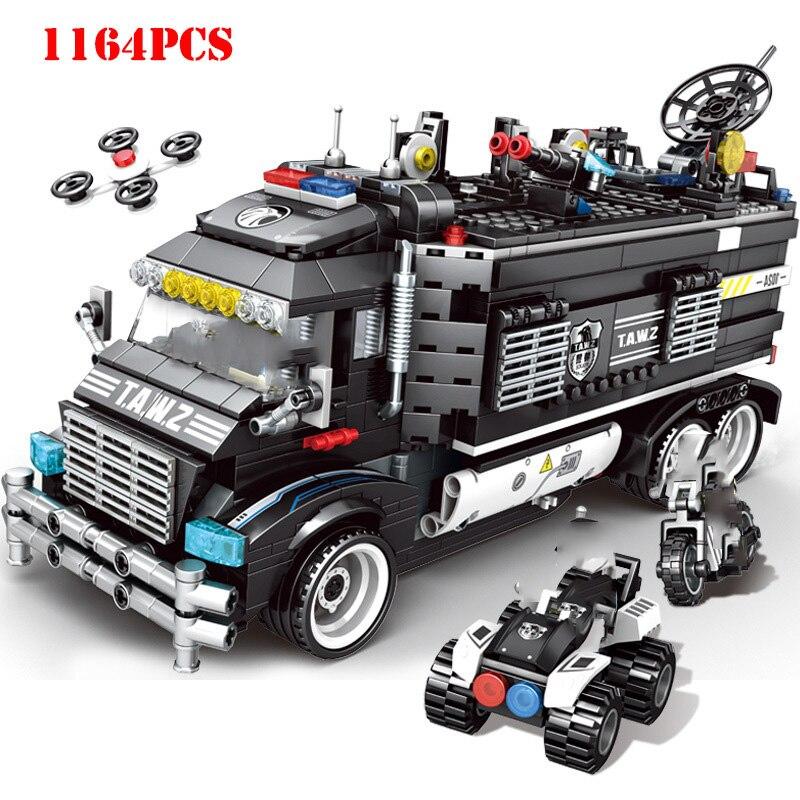 Military City Transformation Police Station Building Blocks Compatible Technic City SWAT Team Truck Bricks Children Toys