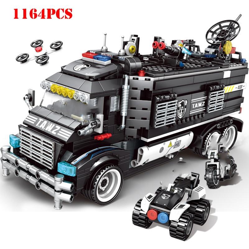 Oyuncaklar ve Hobi Ürünleri'ten Bloklar'de Askeri Şehir Dönüşüm Polis Karakolu Yapı Taşları Uyumlu Legoings Teknik SWAT Takım Kamyon Tuğla çocuk oyuncakları Hediyeler'da  Grup 1