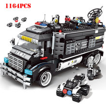 Military City Transformation Police Station Building Blocks Compatible Legoings Technic SWAT Team Truck Bricks Child Toys Gifts(China)