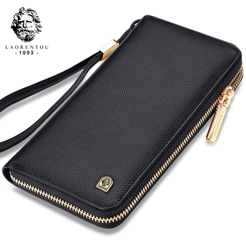 LAORENTOU Men Wallets Genuine Leather Large Capacity Zipper Wallet Men's Purse Long Wallet Bifold Wallet Clutch with Wristlet banlosen brand men wallets double zipper vintage genuine leather clutch wallets male purses large capacity men s wallet