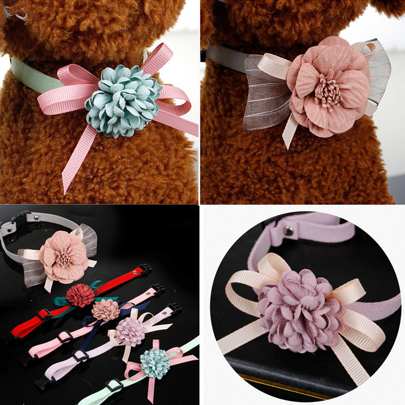 Dog Collar Pet Cat Puppy Flowers Decoration Collar Necklace Adjustable Collars XH8Z
