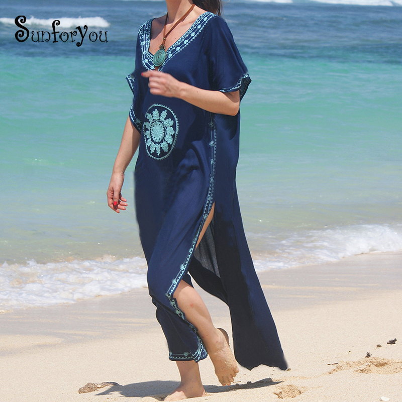 Plus size Cotton Beach Dress with Embroidery Robe de Plage ...