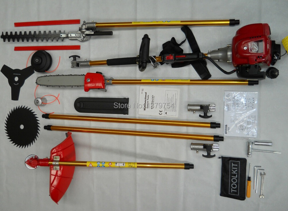 6 in 1 Gas Brush cutter 4 stroke GX35 Engine Petrol strimmer Tree Pruner Grass cutter with 2X 75cm extend pole factory selling