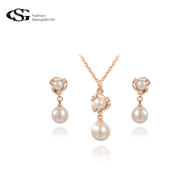 GS jewelry sets necklace set simulated pearl jewelry rose gold Color