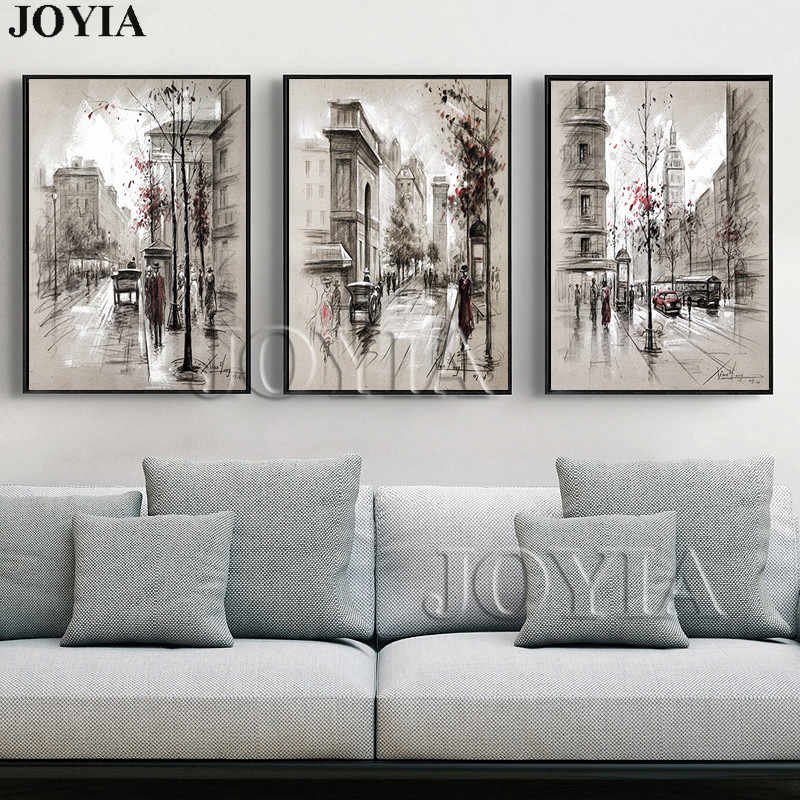 Home Decor Canvas Wall Art Vintage City Street Landscape Paintings For Living Room Wall 3 Piece Retro Paris Picture Set No Frame
