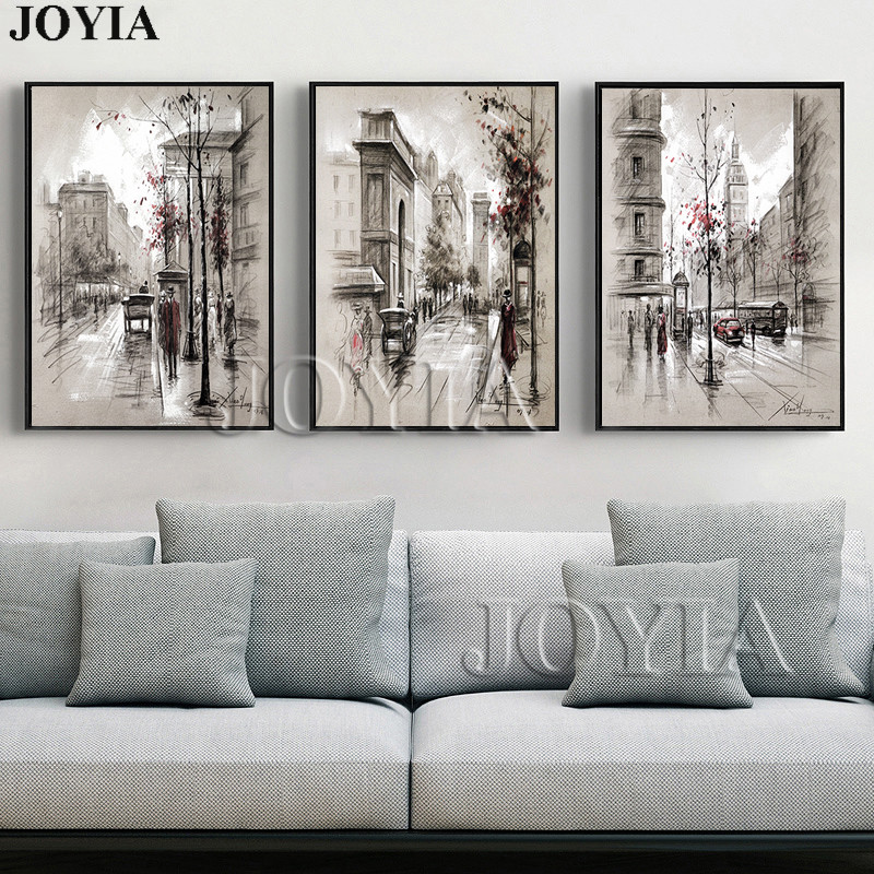 Home decor canvas wall art vintage city street landscape paintings for living room wall 3 piece - Wall paintings for living room ...