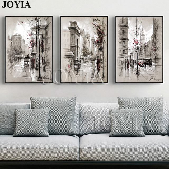 Home Decor Canvas Wall Art Vintage City Street Landscape Paintings For Living Room 3 Piece