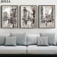 Modern Style Abstract Oil Painting Canvas Retro City Street Landscape Oil Pictures Decorative Painting Wall Art
