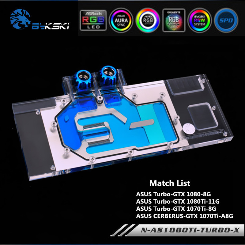 Bykski N-AS1080TI-TURBO-X Full Cove GPU Water Block For VGA ASUS TURBO-GTX1080Ti 1080 Graphics Card Water Cooling GPU Heat Sink image