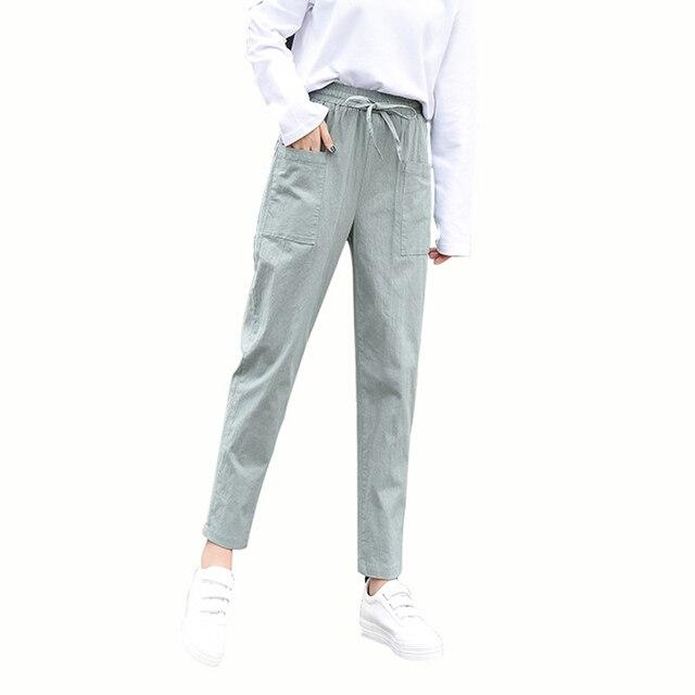 MOBTRS algodón Lino Harem Pantalones mujer más tamaño suelta tobillo-longitud  Pantalones mujer Casual alta. Sitúa el cursor encima para ... d7b04b7de18b