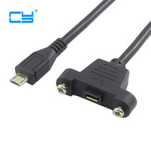 Micro USB 5pin Micro USB USB 2.0 Male Connector to Micro USB 2.0 Female Extension Cable 30cm 50cm With screws Panel Mount Hole цена и фото