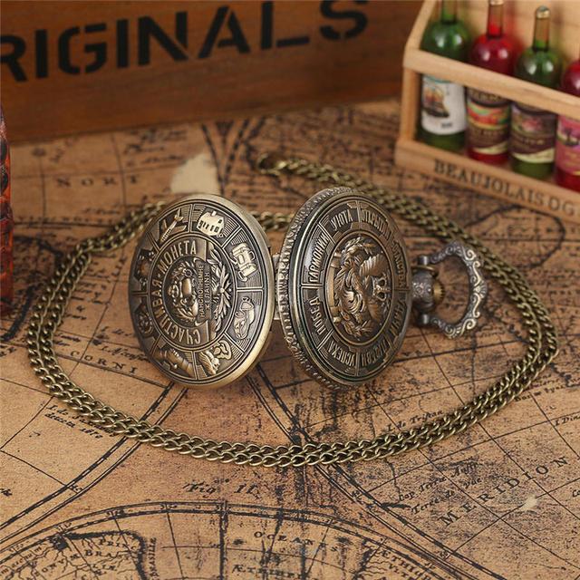 Reloj de bolsillo de cuarzo con estampado artístico de monedas de Metal YISUYA, reloj con colgante de monedas rusas coleccionables, cadena de regalo, reloj de bolsillo